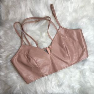 MISSGUIDED Mauve Pink Faux Leather Bra | Size 4